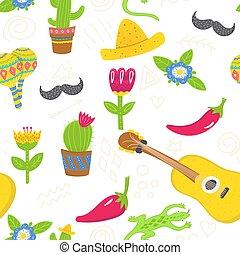 bolsas, blanco, arte, pared, seamless, mexicano, telas, sobre, patrón, brillante, style., decoración, impresiones, caricatura, guitarra, bigote, sombreros, flores, fondo., succulens, fiesta