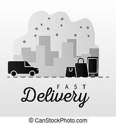 bolsas, cityscape, smartphone, compras, furgoneta