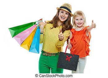 bolsas, compras, actuación, arriba, pulgares, madre, hija, ...