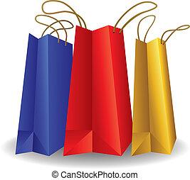 bolsas, compras, aislado, papel, blanco, colorido