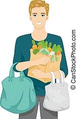 bolsas, compras de la tienda de comestibles, hombre
