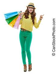 bolsas, compras de mujer, señalar, a un lado, plano de fondo...