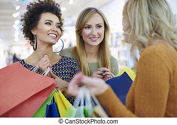 bolsas, compras, encima de cierre, amigos, mejor