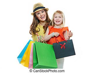bolsas, compras, madre, retrato, hija, sonriente