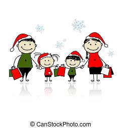 bolsas, compras, navidad, familia , gifts.