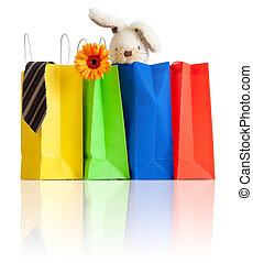 bolsas, compras, reflexión, familia , compras, plano de fondo, blanco