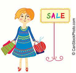 bolsas, compras, -, venta, niña, caricatura