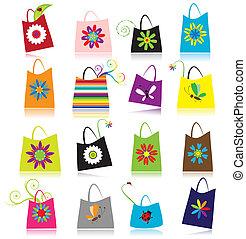 bolsas, conjunto, compras