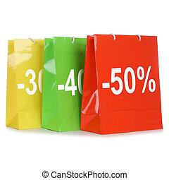 bolsas de compras, con, descuentos, o, especial, oferta,...