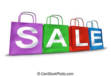bolsas de compras, con, el, palabra, venta