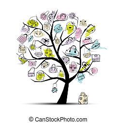 bolsas de compras, en, árbol, para, su, diseño