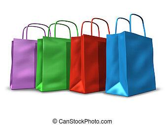 bolsas de compras, en un grupo