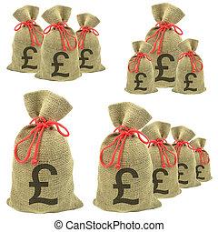 bolsas, dinero, libras