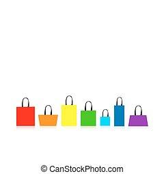 bolsas, diseño, compras, aislado, su