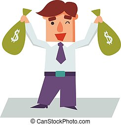 bolsas, empresa / negocio, dinero, carácter, ilustración, vector, caricatura, hombre
