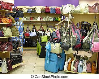 bolsas, en, tienda