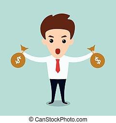bolsas, hombre, caricatura, empresa / negocio, dinero