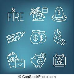 bolsas, icono, dinero, más, ahorros, conjunto, huevo, retiro...
