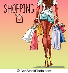 bolsas, joven, espacio, plano de fondo, compras, mujer,...
