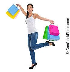 Bolsas, Lleno, compras, alegre, Longitud, retrato, niña