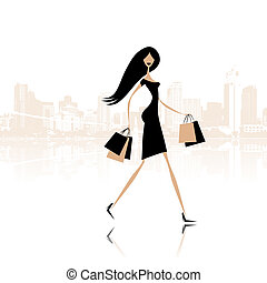 bolsas, moda, compras, calle de la ciudad, niña