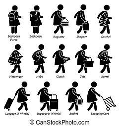 bolsas, mujer, bolsa, hembra, billetera