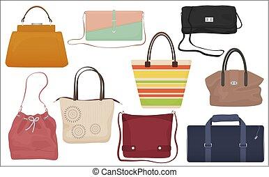 bolsas, mujer, iconos, collection., set., aislado, bolso, moda, hembra, frente, casual