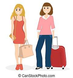 bolsas, mujeres, turistas, maleta