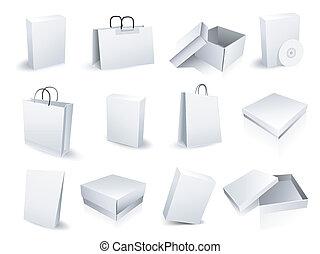 bolsas para compras, e, caixas