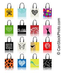 bolsas para compras, jogo, para, seu, desenho