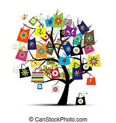 bolsas para compras, ligado, árvore, para, seu, desenho