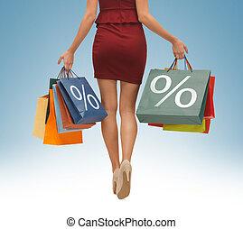 bolsas, piernas, compras, largo