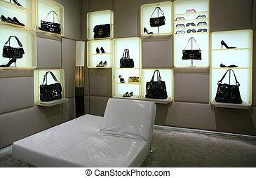 bolsas, shoes, y, anteojos, en, tienda