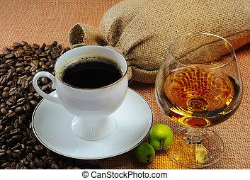 bolsas, taza para café, café, vidrio, coñac, frijoles