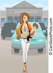 bolsas, tienda de comestibles, ella, hijo, proceso de llevar, madre