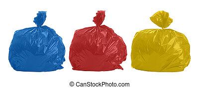 bolsas, tres, basura, coloreado