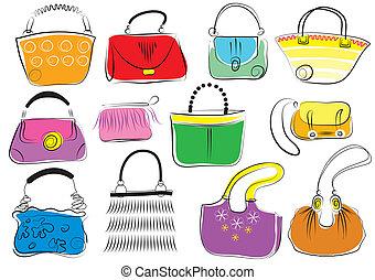 bolsas, vector, conjunto, mujer