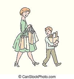 bolsas, vector, cortés, proceso de llevar, ayuda, madre,...