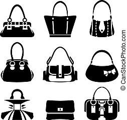 bolsas, vector, hembra, iconos