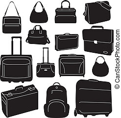 bolsas, viaje, colección, maletas