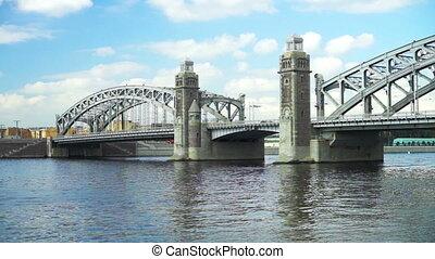 Bolsheohtinsky bridge on Neva river in Saint Petersburg, Russia