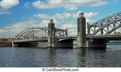 Bolsheokhtinsky bridge on Neva river in Saint Petersburg, Russia - panoramic view
