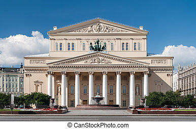 Bolshoi theater in Moscow without people, front view