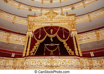 Bolshoi Theatre a historic theatre of ballet and opera in Moscow, Russia, the interior auditorium by architect Alberto Cavos in 1895.