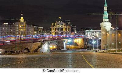 Bolshoy Moskvoretsky Bridge at winter night timelapse Moscow
