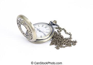bolsillo, blanco, reloj, aislado