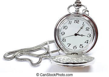 bolsillo, blanco, reloj