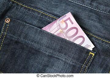 bolsillo, cuentas, vaqueros, 500, euro