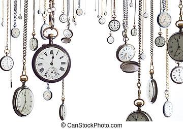 bolsillo, muchos, relojes