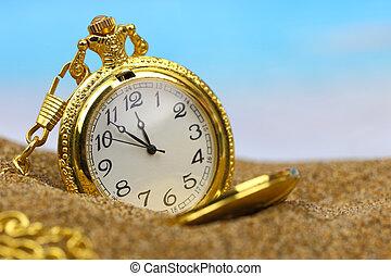 bolsillo, reloj, en la playa